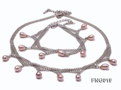 Gold-plated Metal Chain Necklace and Bracelet Set dotted with Lavender Freshwater Pearls FNG019 Image 1