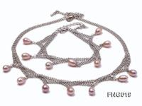 Gold-plated Metal Chain Necklace and Bracelet Set dotted with Lavender Freshwater Pearls FNG019
