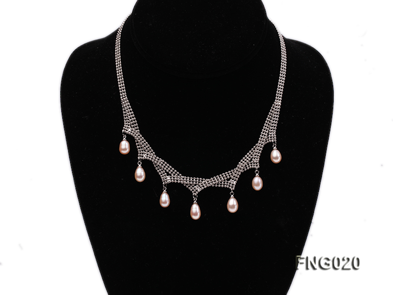 Gold-plated Metal Chain Necklace and Bracelet Set dotted with Pink Freshwater Pearls big Image 2
