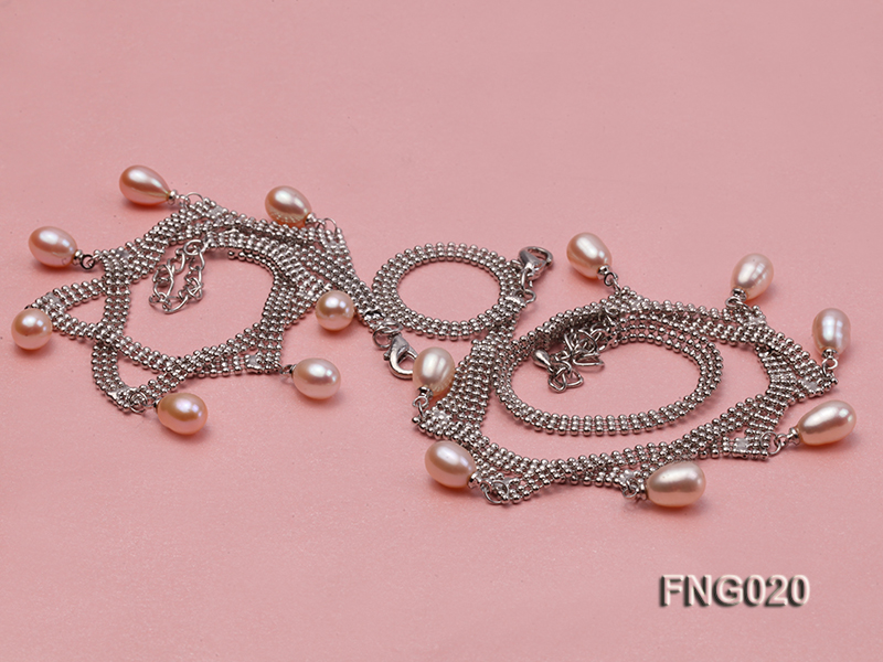 Gold-plated Metal Chain Necklace and Bracelet Set dotted with Pink Freshwater Pearls big Image 4