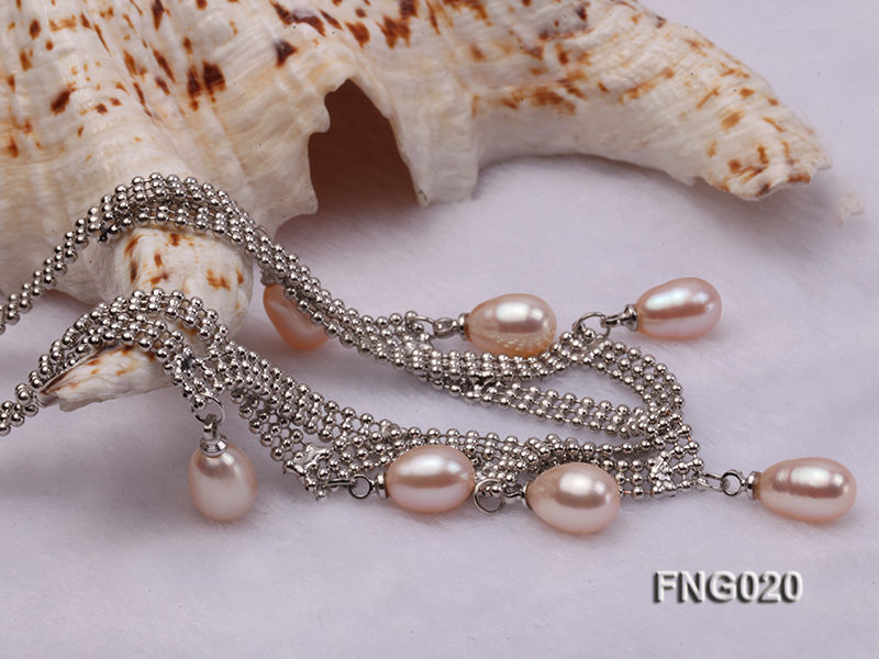 Gold-plated Metal Chain Necklace and Bracelet Set dotted with Pink Freshwater Pearls big Image 5