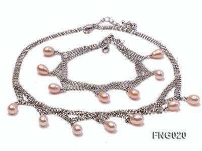 Gold-plated Metal Chain Necklace and Bracelet Set dotted with Pink Freshwater Pearls FNG020 Image 1