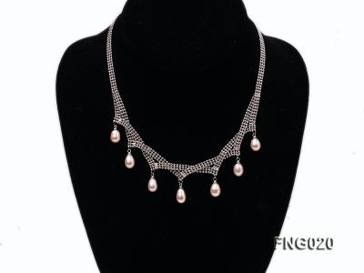 Gold-plated Metal Chain Necklace and Bracelet Set dotted with Pink Freshwater Pearls FNG020 Image 2