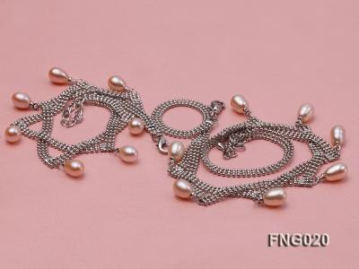 Gold-plated Metal Chain Necklace and Bracelet Set dotted with Pink Freshwater Pearls FNG020 Image 4