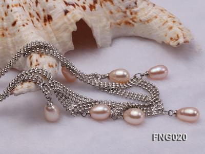 Gold-plated Metal Chain Necklace and Bracelet Set dotted with Pink Freshwater Pearls FNG020 Image 5