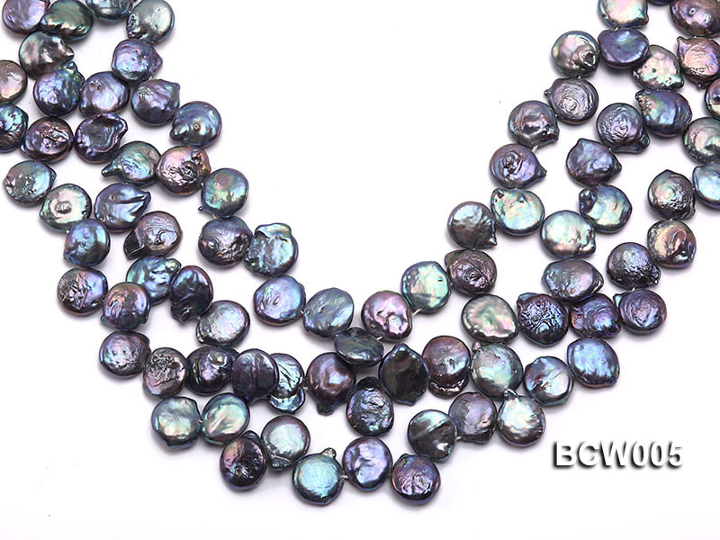 Wholesale 12-15mm Black Button-shaped Cultured Freshwater Pearl String big Image 1