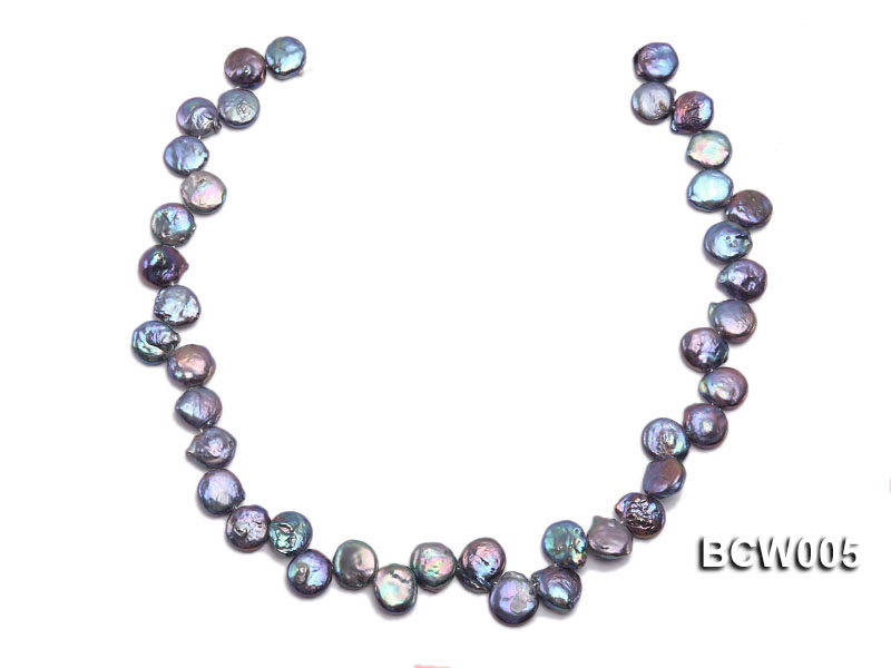 Wholesale 12-15mm Black Button-shaped Cultured Freshwater Pearl String big Image 3