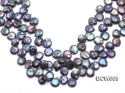 Wholesale 12-15mm Black Button-shaped Cultured Freshwater Pearl String BCW005 Image 1