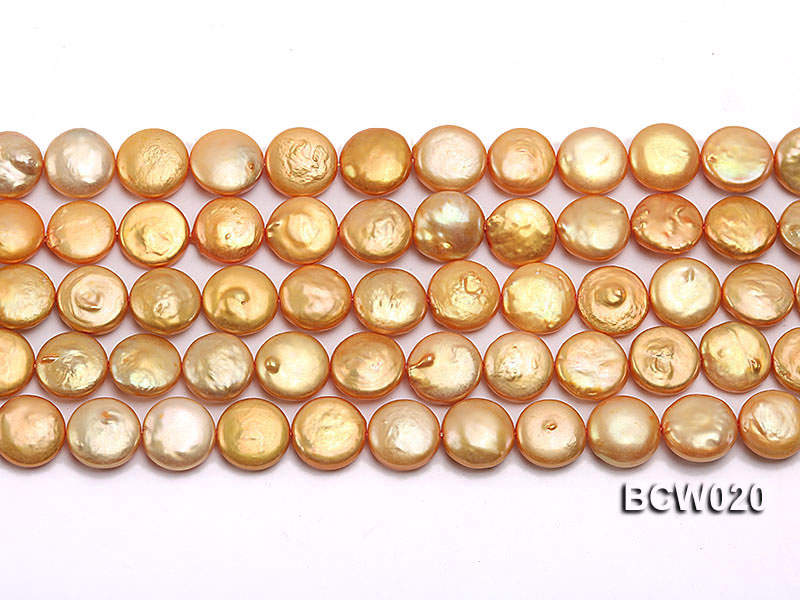 Wholesale 12-13mm Classic White Button-shaped Cultured Freshwater Pearl String big Image 2