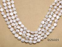Wholesale 12.5x15mm White Button-shaped Freshwater Pearl String BCW021