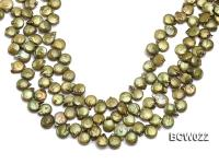 Wholesale 12-13mm Apple Green Button-shaped Cultured Freshwater Pearl String BCW022