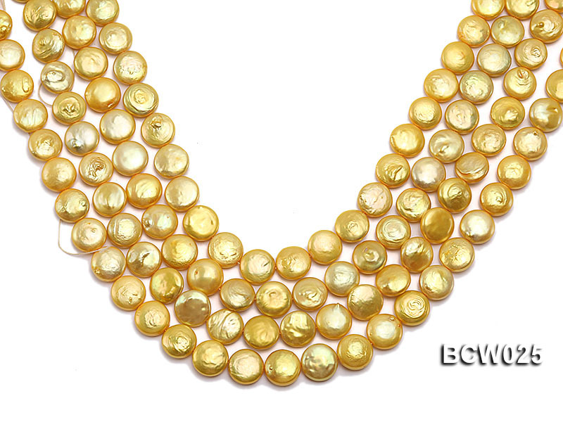 Wholesale 13mm Yellow Button-shaped Cultured Freshwater Pearl String big Image 1