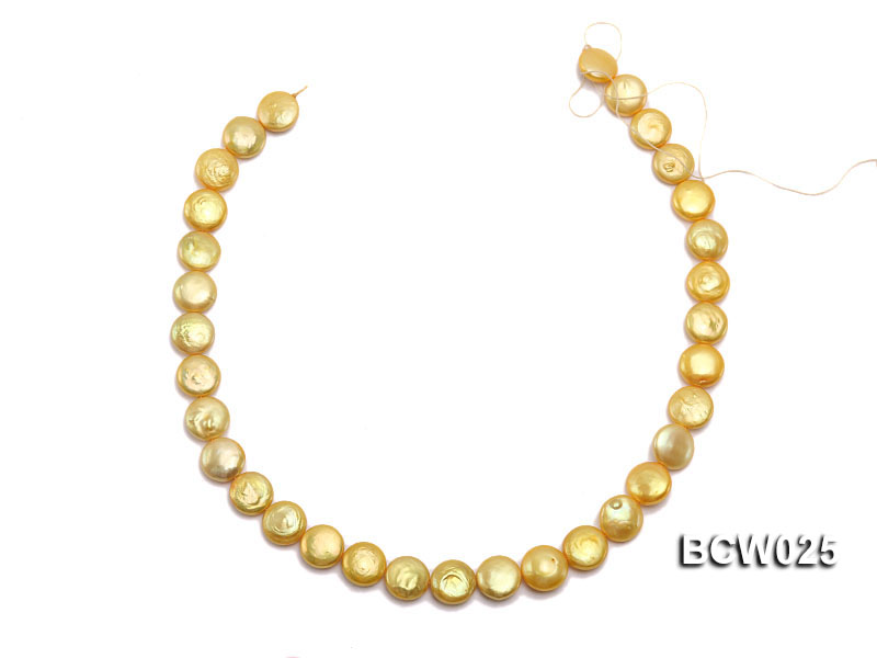 Wholesale 13mm Yellow Button-shaped Cultured Freshwater Pearl String big Image 3