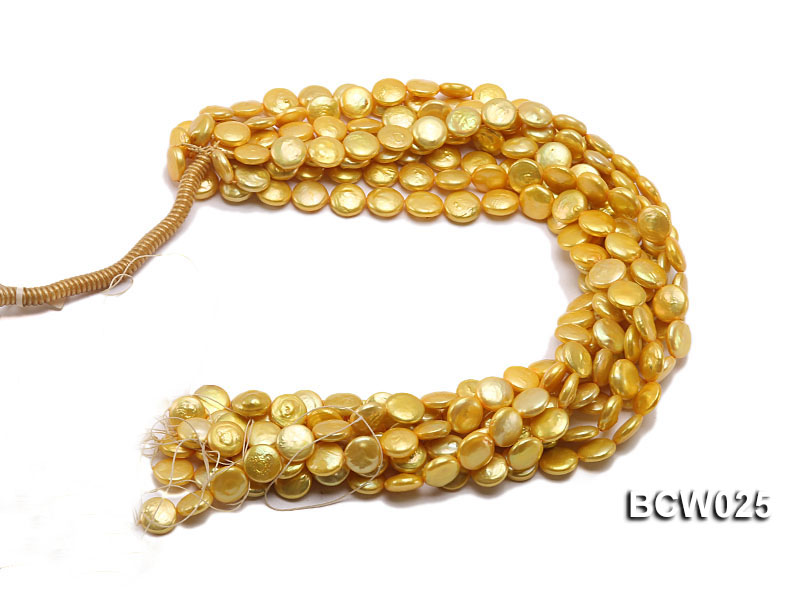 Wholesale 13mm Yellow Button-shaped Cultured Freshwater Pearl String big Image 4