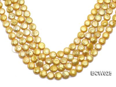 Wholesale 13mm Yellow Button-shaped Cultured Freshwater Pearl String BCW025 Image 1