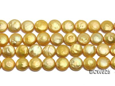 Wholesale 13mm Yellow Button-shaped Cultured Freshwater Pearl String BCW025 Image 2