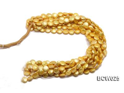 Wholesale 13mm Yellow Button-shaped Cultured Freshwater Pearl String BCW025 Image 4