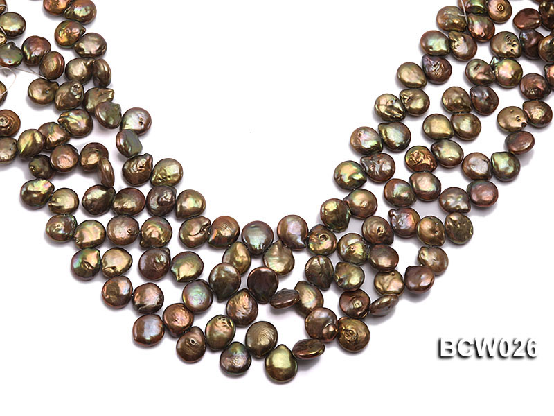 Wholesale 12-14mm Coffee Button-shaped Cultured Freshwater Pearl String big Image 1