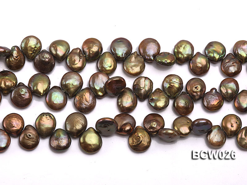 Wholesale 12-14mm Coffee Button-shaped Cultured Freshwater Pearl String big Image 2