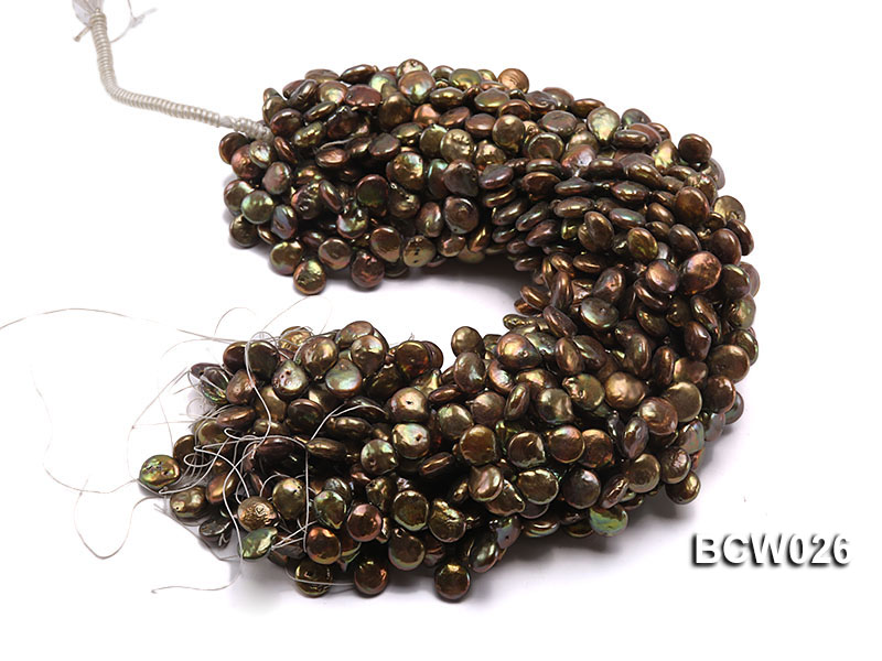 Wholesale 12-14mm Coffee Button-shaped Cultured Freshwater Pearl String big Image 4