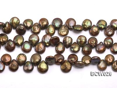 Wholesale 12-14mm Coffee Button-shaped Cultured Freshwater Pearl String BCW026 Image 2