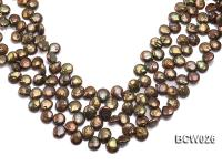 Wholesale 12-14mm Coffee Button-shaped Cultured Freshwater Pearl String BCW026