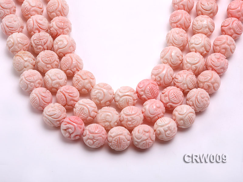 Wholesale 16mm Round Pink Carved Tridacna Shell Beaded Strand big Image 1