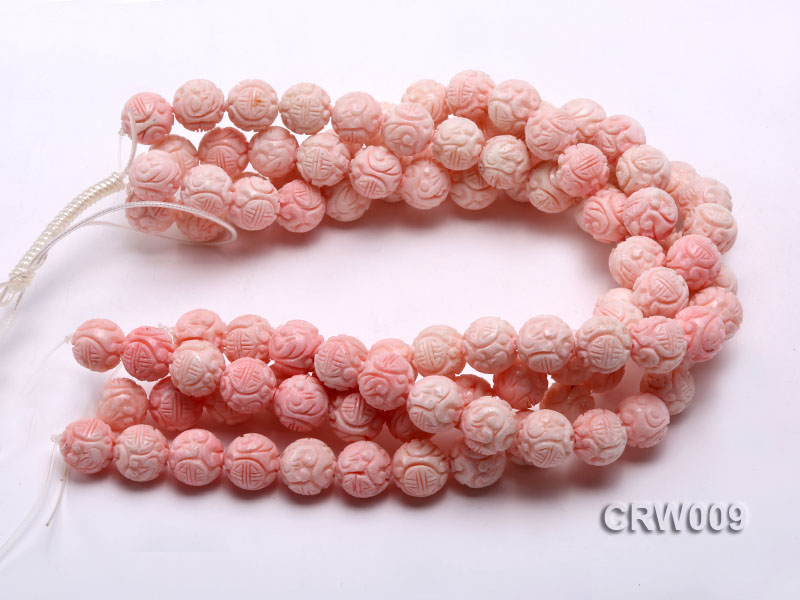 Wholesale 16mm Round Pink Carved Tridacna Shell Beaded Strand big Image 3