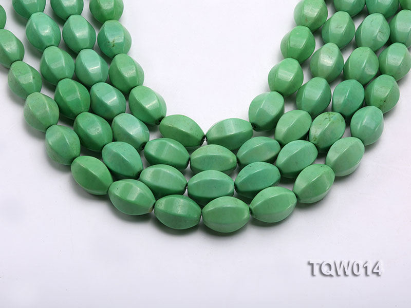 Wholesale 13x18mm Faceted Oval Green Turquoise Beads String big Image 1