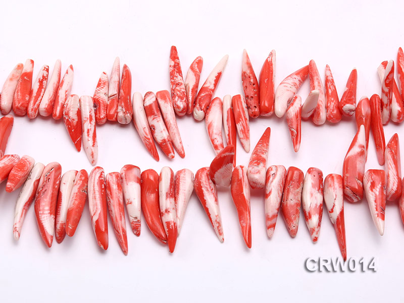 Wholesale 20-40mm Chili-shaped Pink Coral Sticks Loose String big Image 2