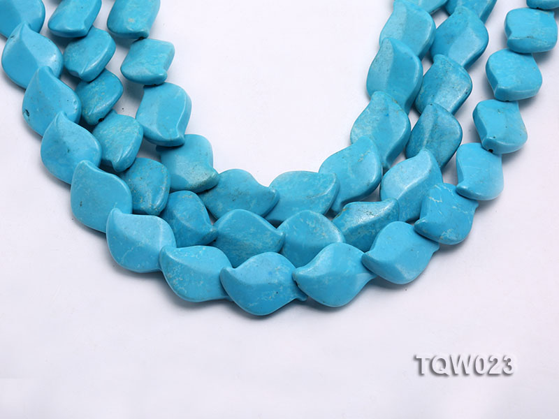 Wholesale 16x25mm Leaf-shaped Blue Turquoise Pieces String big Image 1
