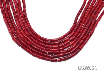 Wholesale 4x12mm Pillar-shaped Red Coral Beads Loose String CRW034 Image 1