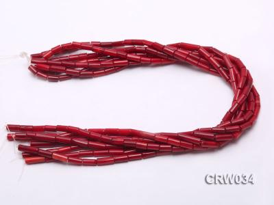 Wholesale 4x12mm Pillar-shaped Red Coral Beads Loose String CRW034 Image 3