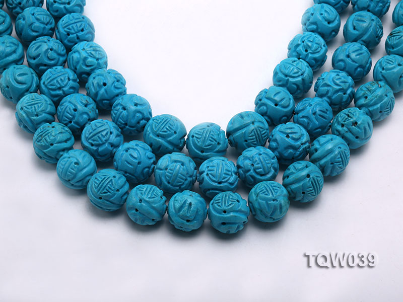 Wholesale 17mm Round Blue Carved Turquoise Beads String big Image 1