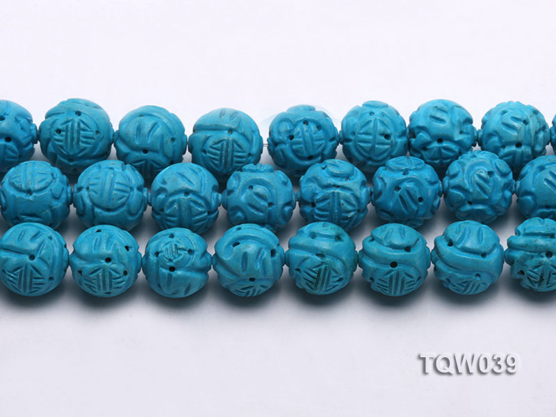 Wholesale 17mm Round Blue Carved Turquoise Beads String big Image 2