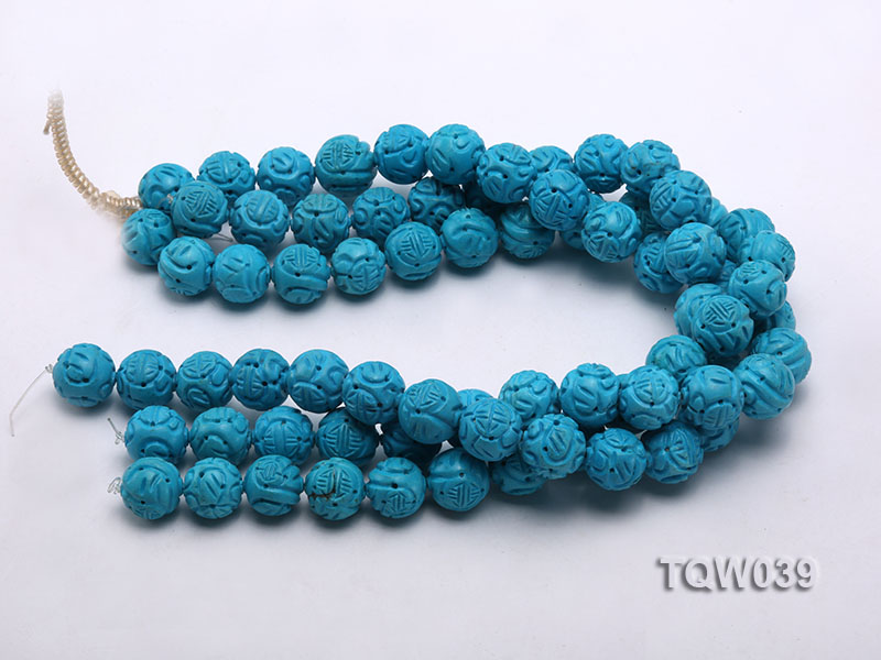 Wholesale 17mm Round Blue Carved Turquoise Beads String big Image 3