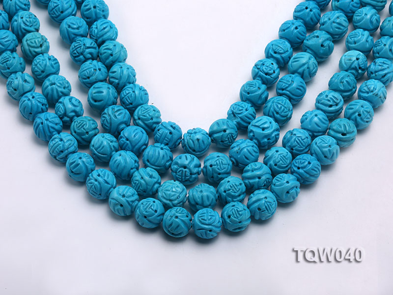 Wholesale 13mm Round Blue Carved Turquoise Beads String big Image 1