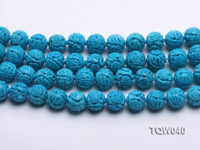 Wholesale 13mm Round Blue Carved Turquoise Beads String big Image 2