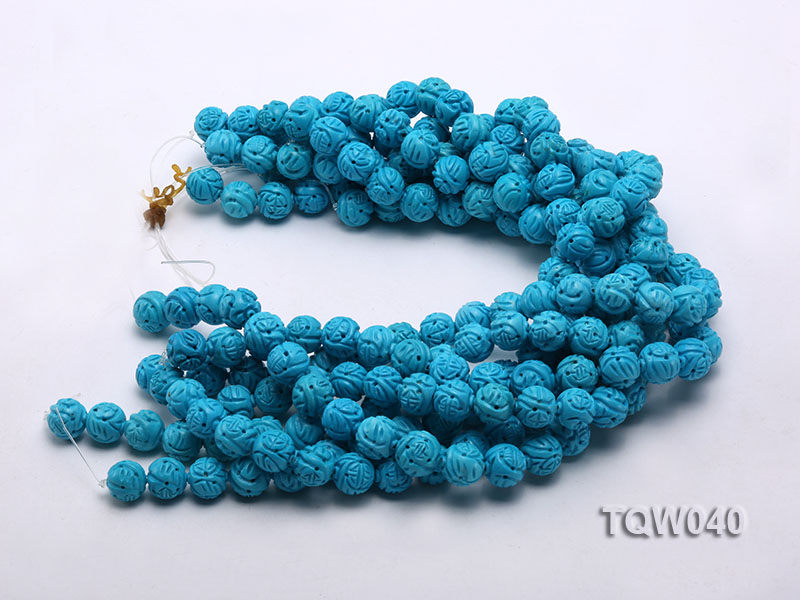 Wholesale 13mm Round Blue Carved Turquoise Beads String big Image 3