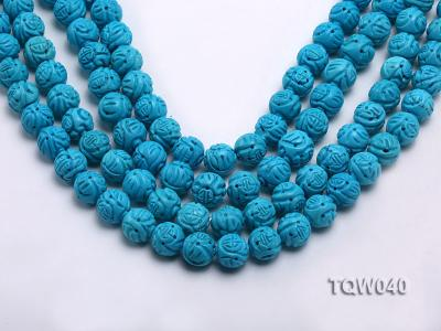 Wholesale 13mm Round Blue Carved Turquoise Beads String TQW040 Image 1