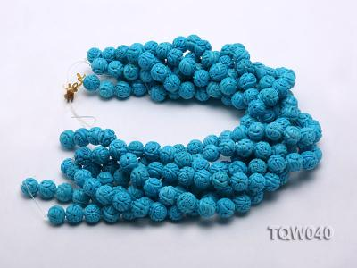 Wholesale 13mm Round Blue Carved Turquoise Beads String TQW040 Image 3