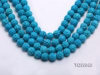Wholesale 13mm Round Blue Carved Turquoise Beads String TQW040
