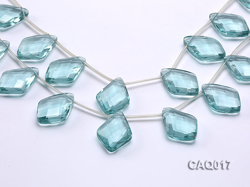Wholesale 25x35mm Rhombic Transparent Faceted Simulated Aquamarine Pieces String big Image 1