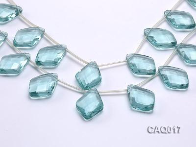 Wholesale 25x35mm Rhombic Transparent Faceted Simulated Aquamarine Pieces String CAQ017 Image 1
