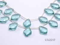 Wholesale 25x35mm Rhombic Transparent Faceted Simulated Aquamarine Pieces String CAQ017