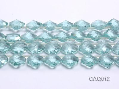 Wholesale 20mm Flower-shaped Transparent Simulated Aquamarine Pieces String CAQ012 Image 2