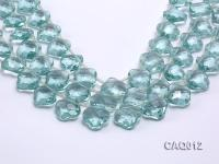 Wholesale 20mm Flower-shaped Transparent Simulated Aquamarine Pieces String CAQ012