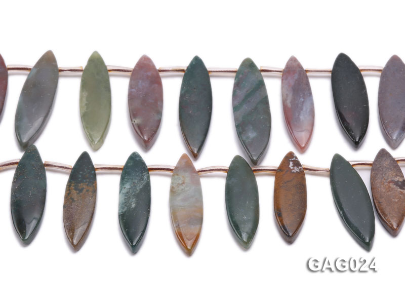 wholesale 17x45mm irregular moss agate piece strings big Image 2