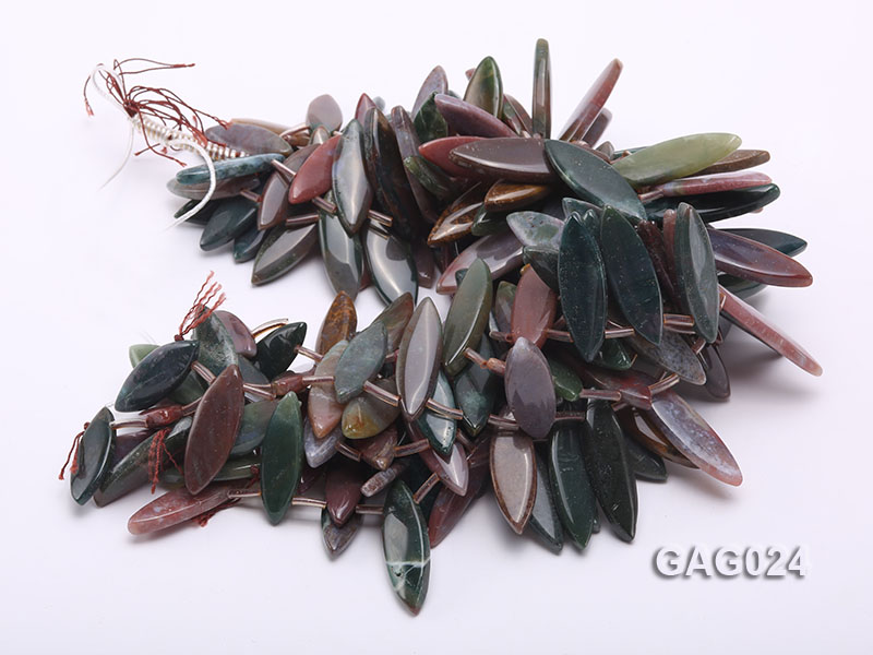 wholesale 17x45mm irregular moss agate piece strings big Image 3