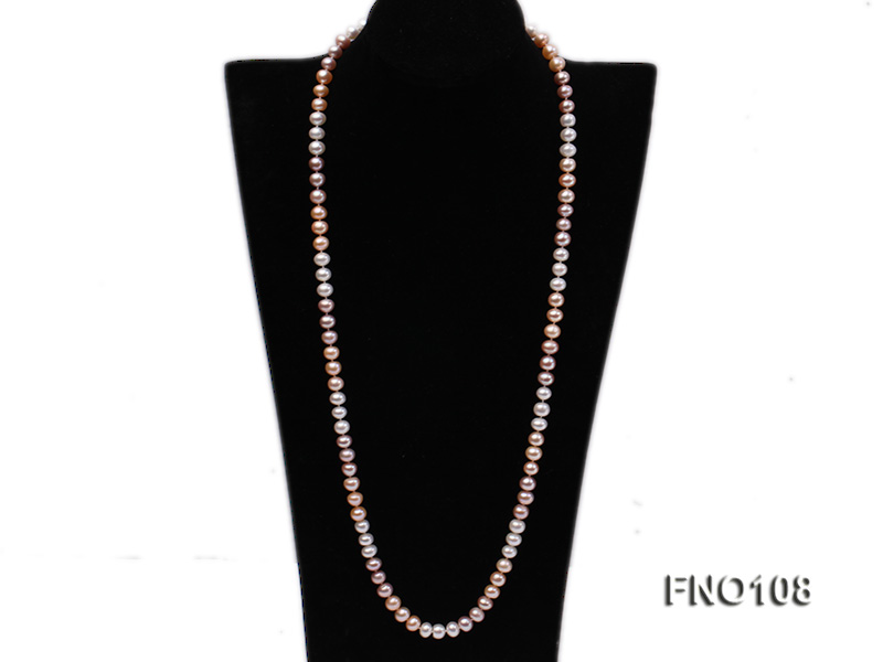 8.5-9.5mm natural multicolor flat freshwater pearl opera necklace big Image 1